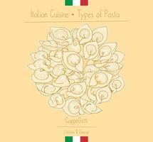pasta alimentare italiana con ripieno aka cappelletti vettore