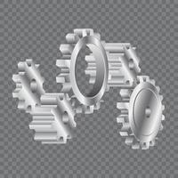 sistema di ruote dentate argento vista laterale vettore