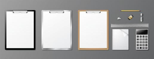 articoli per ufficio realistico set con appunti vettore