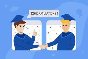 concetto di laurea virtuale con due adolescenti vettore