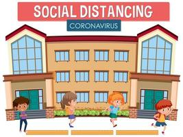 parola coronavirus a distanza sociale a scuola vettore