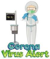 tema coronavirus con medico in tuta ignifuga