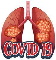 cartellonistica per tema coronavirus con polmone cattivo
