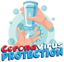 usando disinfettante per le mani per protezione