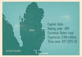 Vecchia illustrazione della mappa del Qatar