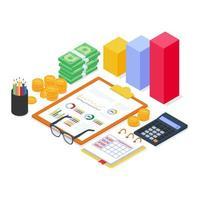 analisi delle attrezzature finanziarie con report grafico diagramma e documento con moderno stile isometrico piatto.