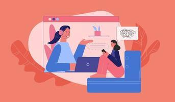 donna arrabbiata a consulenza con lo psicologo online vettore