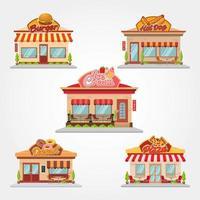 set ristorante in stile cartone animato vettore