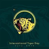 design della giornata internazionale della tigre con testa di tigre vettore