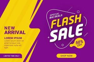 banner di sconto vendita flash viola e giallo