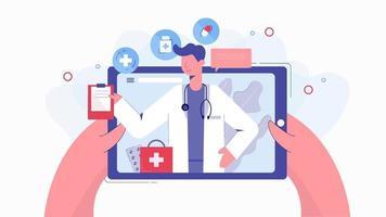 mani che tengono il tablet in chat con il medico vettore