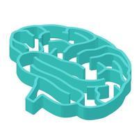 cervello labirinto isometrico vettore