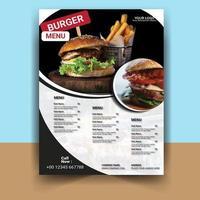 volantino menu per ristorante hamburger vettore