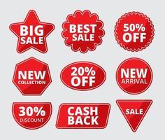 set di etichette in vendita a più forme