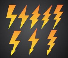 raccolta di simboli di fulmini vettore