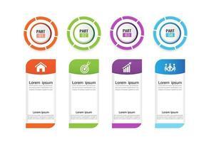 Infografica aziendale in 4 passaggi con cerchi colorati