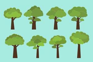 set di alberi in stile piatto vettore