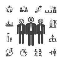 icone di gestione del team aziendale vettore