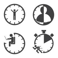 insieme dell'icona della gestione di tempo di affari vettore
