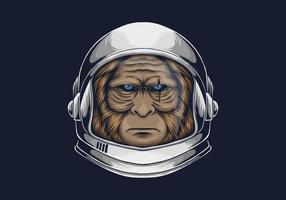 testa di astronauta bigfoot vettore