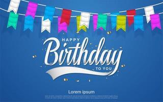 celebrazione di buon compleanno con bandiera colorata a sfondo blu
