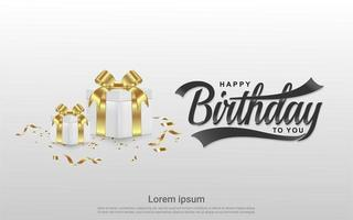 design di buon compleanno con doni su grigio vettore