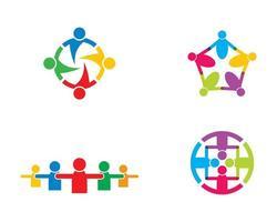 set logo connessione comunità vettore