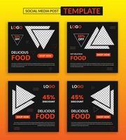modello di post social media cibo delizioso vettore