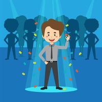 ricerca di talenti moderni uomo d'affari sotto i riflettori vettore