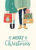 Natale e felice anno nuovo illustrazione con coppia romantica con doni vettore