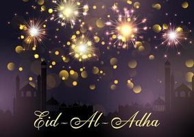 Eid Al Adha sfondo con moschee e fuochi d'artificio vettore