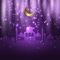 Eid Al Adha sfondo con moschee e luci incandescenti vettore