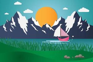 barca a vela con montagne e sole vettore