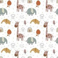 giraffa ed elefante bambino vettore