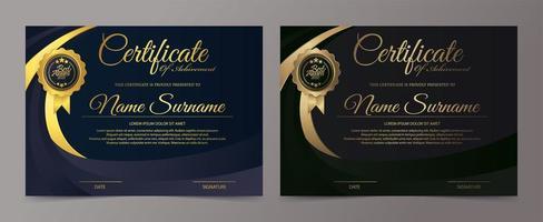 set di modelli di certificato nero e oro