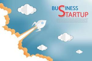 business start up concetto con il lancio di un razzo
