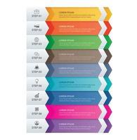 9 frecce infografica dati