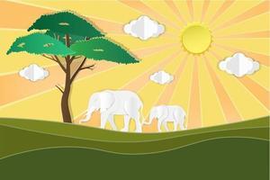 elefanti sulla savana al tramonto vettore