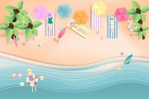 sfondo spiaggia estate con persone che si rilassano sulla spiaggia vettore