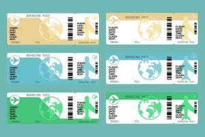 set di carte d'imbarco della compagnia aerea vettore