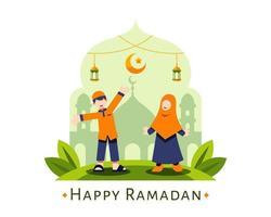 felice sfondo ramadan con simpatici bambini musulmani