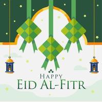 felice eid al fitr sfondo con pendenti diamanti e lanterne