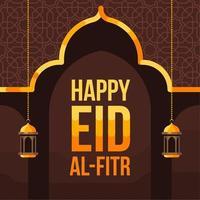 felice eid al fitr sfondo con silhouette moschea
