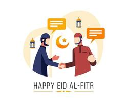 felice eid al fitr sfondo con due uomini musulmani che si salutano
