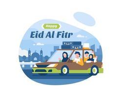 felice eid al fitr sfondo con la famiglia musulmana andando in vacanza vettore