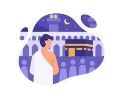 un musulmano esegue l'hajj nell'illustrazione della Mecca vettore
