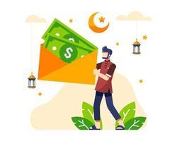 sfondo di Ramadan con uomo che tiene i soldi di grandi buste