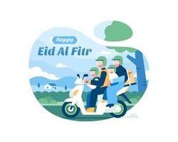 felice eid al fitr sfondo con la famiglia musulmana vettore