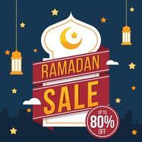 sfondo di vendita Ramadhan con distintivo rosso e nastro