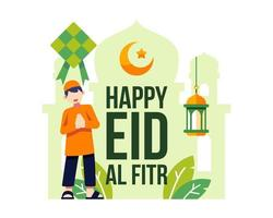 felice eid al fitr sfondo con giovane ragazzo musulmano